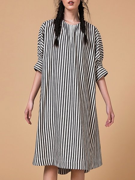 Black Cotton Stripes Casual H-line Midi Dress