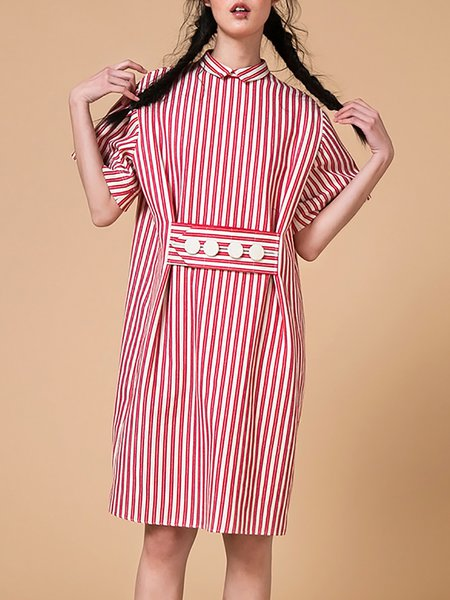 Stripes Cute H-line Half Sleeve Midi Dress