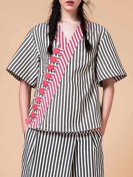 Black V Neck Stripes Cotton Half Sleeve Blouse