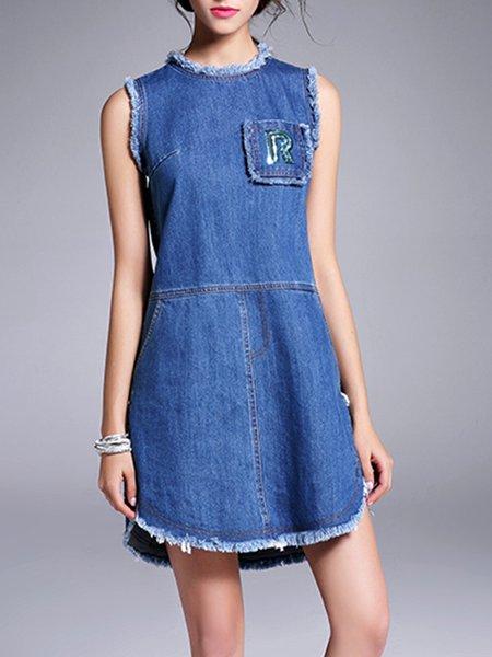 Blue Statement Denim Sequins Mini Dress
