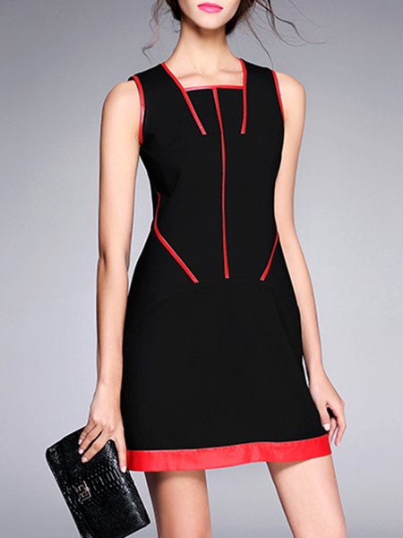 Black Square Neck Plain Sleeveless Mini Dress