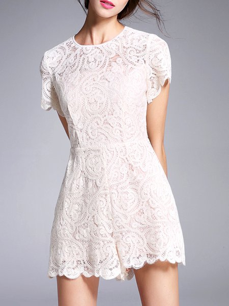 White Pierced Lace Short Sleeve Romper