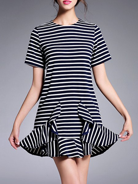 Navy Blue Short Sleeve Stripes Flounce Mini Dress