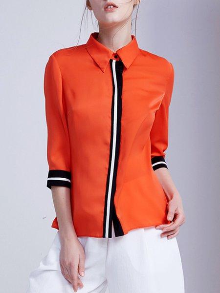 Orange 3/4 Sleeve Shirt Collar H-line Blouse