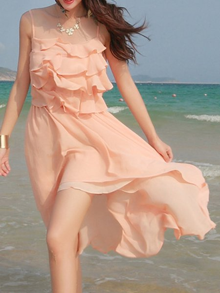 Pink Resort High Low Chiffon Ruffled Spaghetti Midi Dress