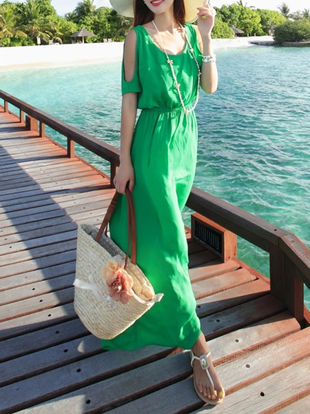 Green Resort Cutout A-line Maxi Dress