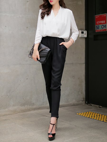 Black Casual Color-block V Neck Polyester Jumpsuit