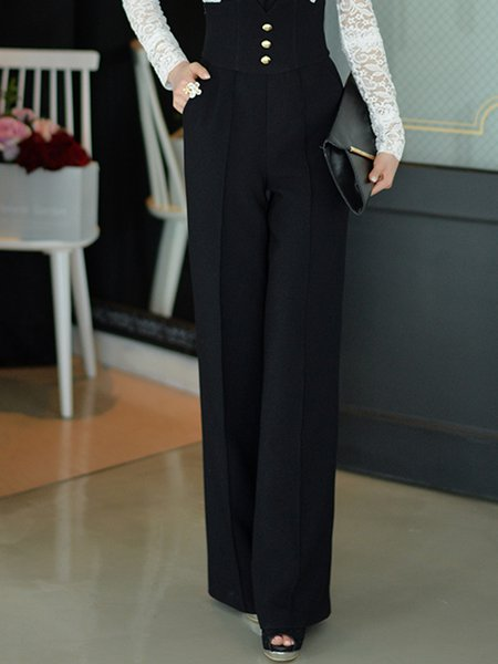 Black Polyester Plain Pockets Simple Flared Pants