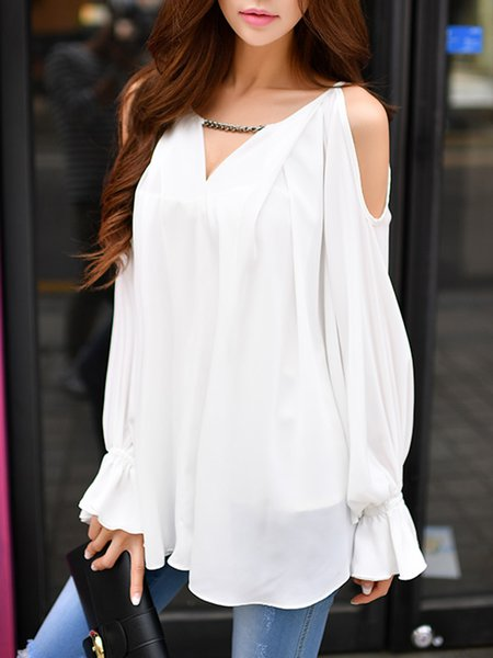 White Cold Shoulder Chain-trimmed Blouse