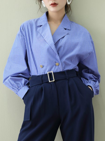 Blue Casual Lapel Buttoned Stripe Cotton Blouse