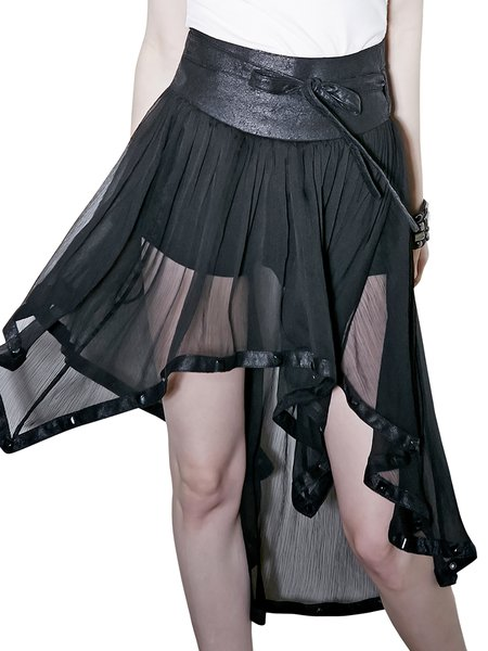 Black High Low Plain Statement Midi Skirt