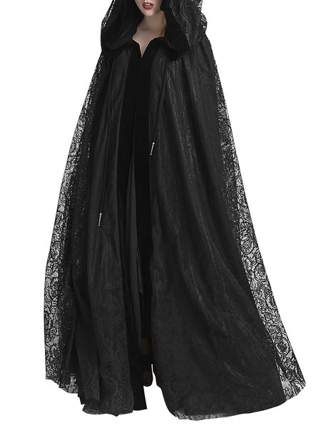 Black Reversible Statement Velvet Cape Coat