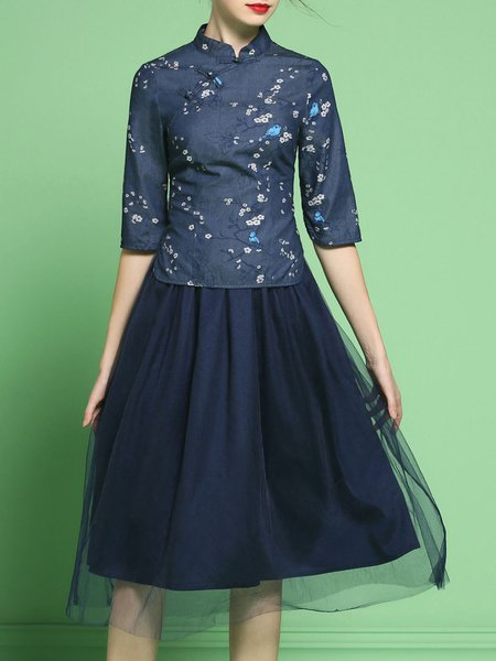 Dark Blue Lace And Denim Statement Mesh Two Piece Floral Midi Dress