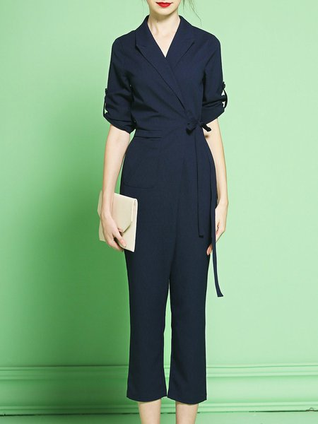 Dark Blue Lapel Pockets Plain Half Sleeve Jumpsuit