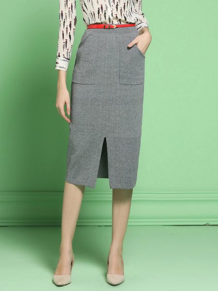 Gray Polyester Slit Elegant Knitted Midi Skirt