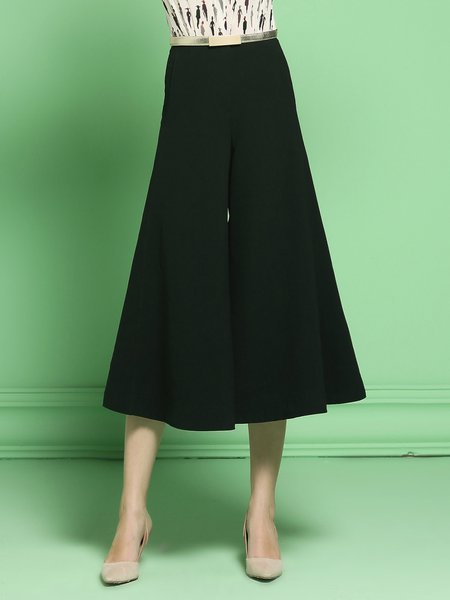 Black Statement Plain Pockets Culottes Pant