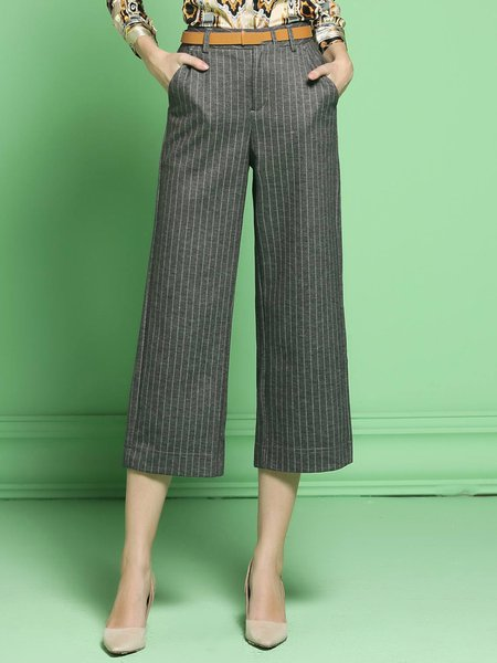 Gray Pockets Work Polyester Stripes Wide Leg Pant