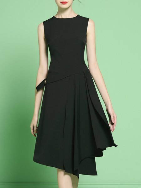 Sleeveless Asymmetrical Casual Crew Neck Midi Dress