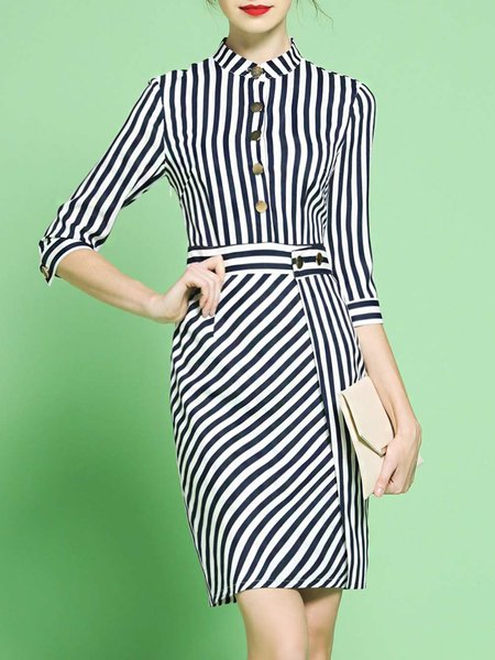 Dark Blue Sheath Half Sleeve Stripes Stand Collar Midi Dress