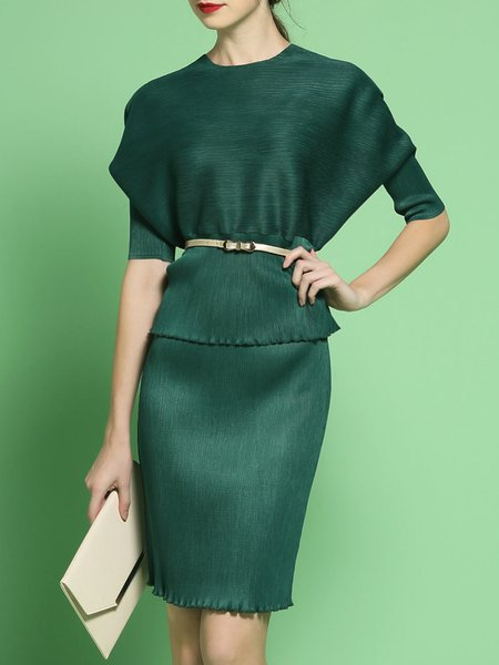 Dark Green Polyester Batwing Plain Two Piece Midi Dress