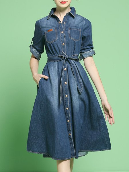 Dark Blue Shirt Collar Casual A-line Midi Dress With Belt