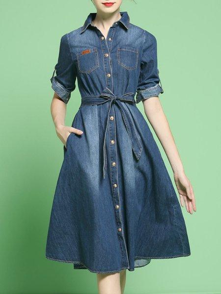 Dark Blue Shirt Collar Casual A-line Midi Dress With Belt