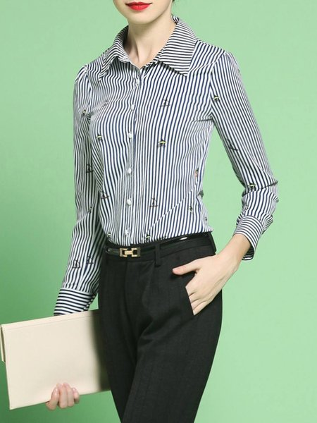Multicolor Work Shirt Collar Stripes Blouse
