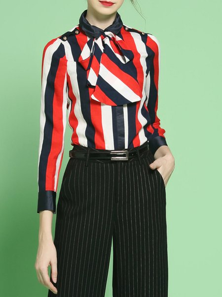 Stripes Color-block Work 3/4 Sleeve Blouse