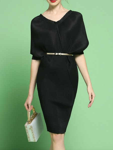 Black Plain Batwing Folds V Neck Stretchy Midi Dress