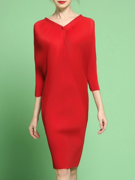 Elegant Folds Batwing Sheath Midi Dress