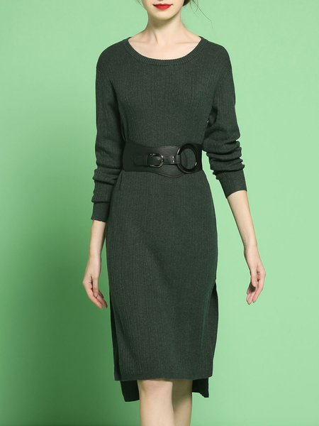 Dark Green High Low Casual Slit Midi Dress
