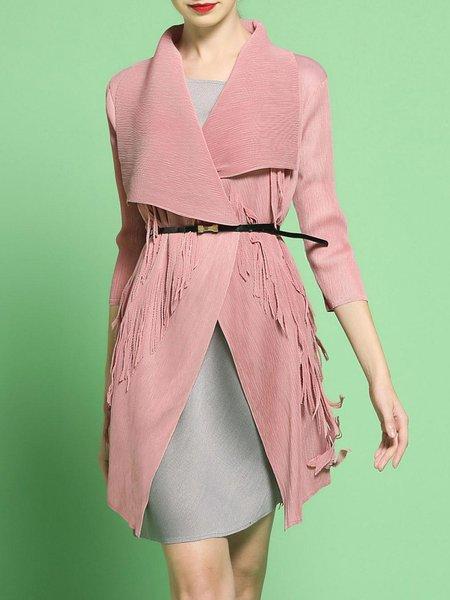 Pink Long Sleeve Stretchy Elegant Fringed Cape