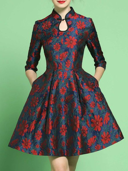 Keyhole Vintage Half Sleeve Floral Midi Dress