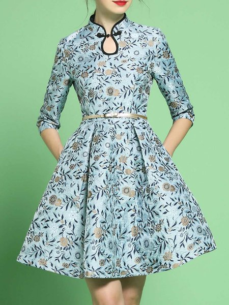 Blue Printed Floral Vintage Keyhole Midi Dress