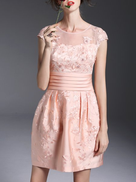 Pink Lace A-line Girly Embroidered Mini Dress