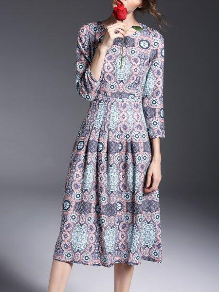 Blue Printed Vintage Crew Neck Midi Dress