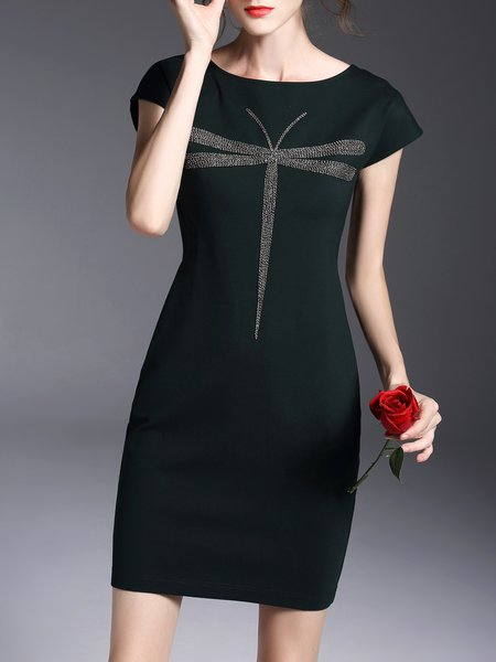 Green  Crew Neck Short Sleeve Sheath Mini Dress