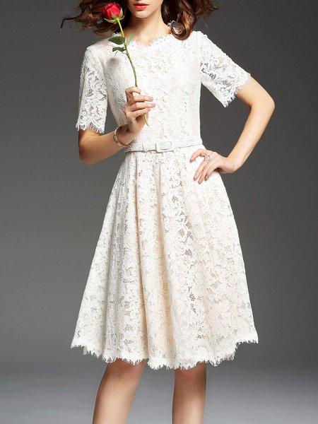 Cocktail A-line Short Sleeve Lace Midi Dress