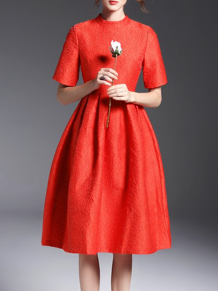 Crew Neck Polyester Half Sleeve Folds Cocktail Midi Dress