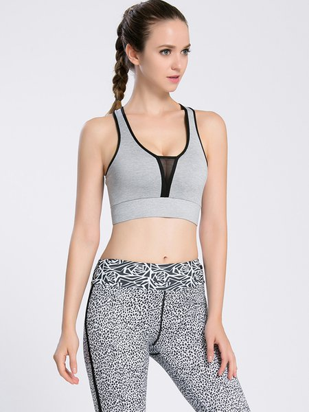 Gray Quick Dry Stretchy Polyester Sports Bra (Sportswear for Yoga)