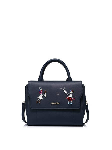 Navy Blue PU Casual Small Satchel