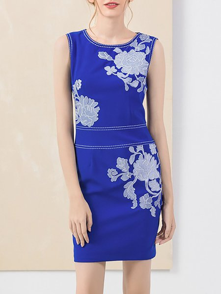 Blue Sleeveless Sheath Polyester Mini Dress