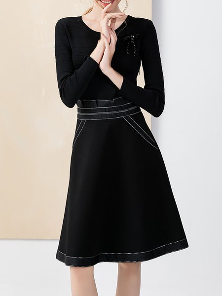 Black Long Sleeve Cotton-blend Paneled Midi Dress