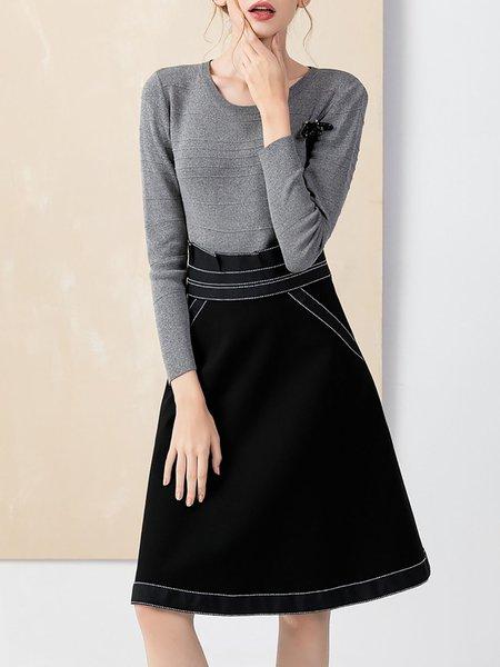 A-line Long Sleeve Casual Paneled Midi Dress