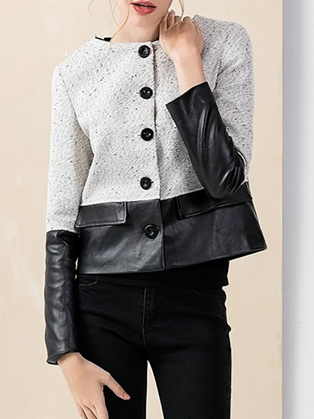 Gray Buttoned Long Sleeve Paneled Cropped Jacket