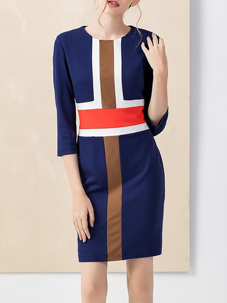 Blue Sheath Color-block Elegant Crew Neck Mini Dress
