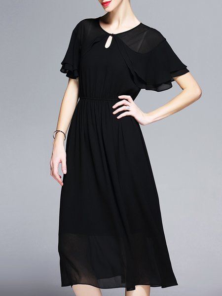 Black Chiffon Keyhole Batwing Plain Midi Dress