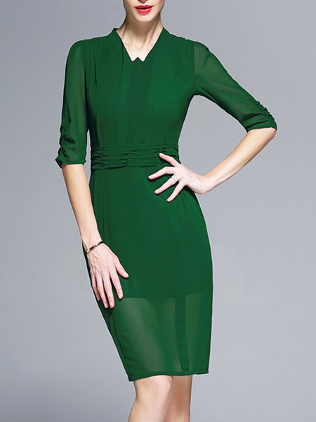 Green Mesh Half Sleeve Plain Ruched V Neck Midi Dress