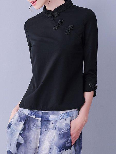 3/4 Sleeve Vintage Plain Long Sleeved Top