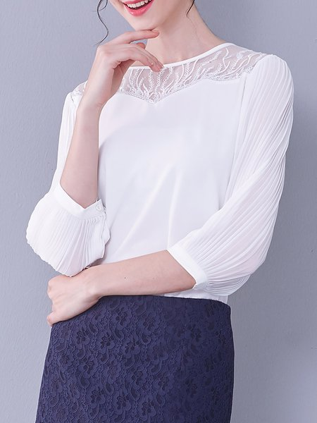 3/4 Sleeve Casual Chiffon Crew Neck Plain Blouse